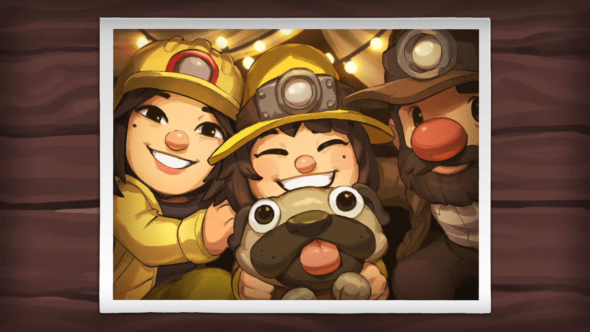 A polaroid of the Spelunky family from Spelunky 2