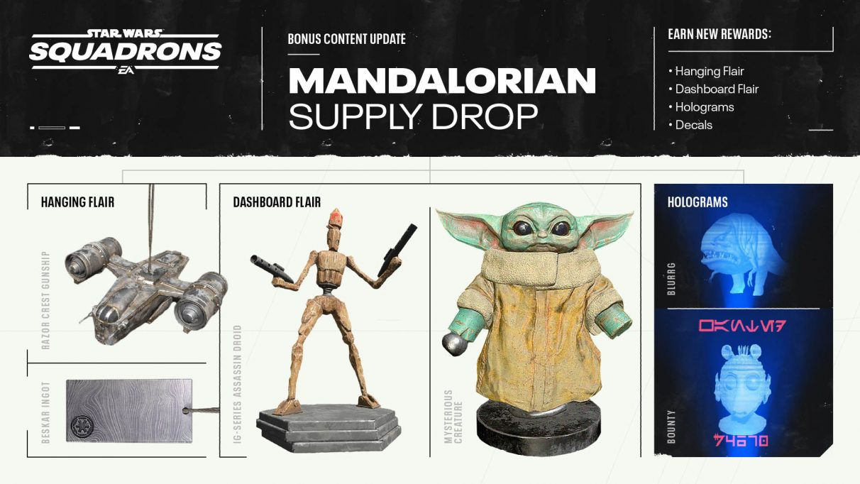 All the cosmetic items coming to Star Wars: Squadrons in the .Mandalorian Supply Drop.