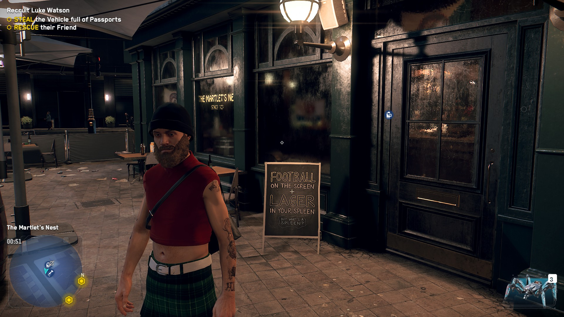 Player character stands outside the Martlet's Nest in Watch Dogs: Legion.