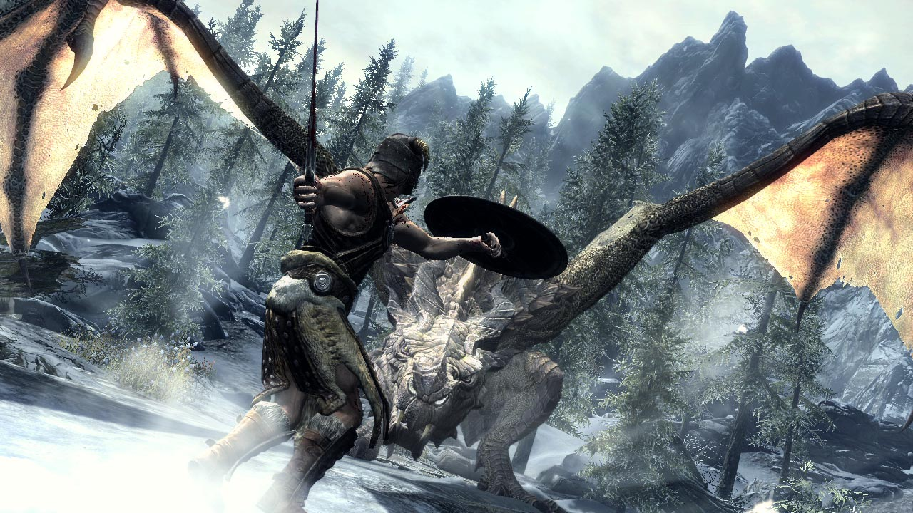 The Dragonborn faces a dragon in an Elder Scrolls V: Skyrim screenshot.
