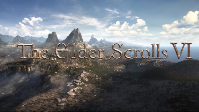 A screen from the initial reveal trailer for The Elder Scrolls 6. Shows a rocky landscape next to an ocean, with the game's logo on it.
