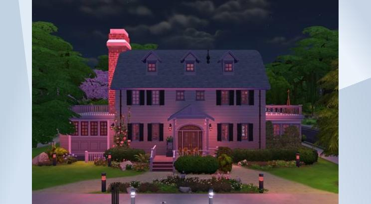 A screenshot of the house from The Amityville Horror, but made in The Sims 4