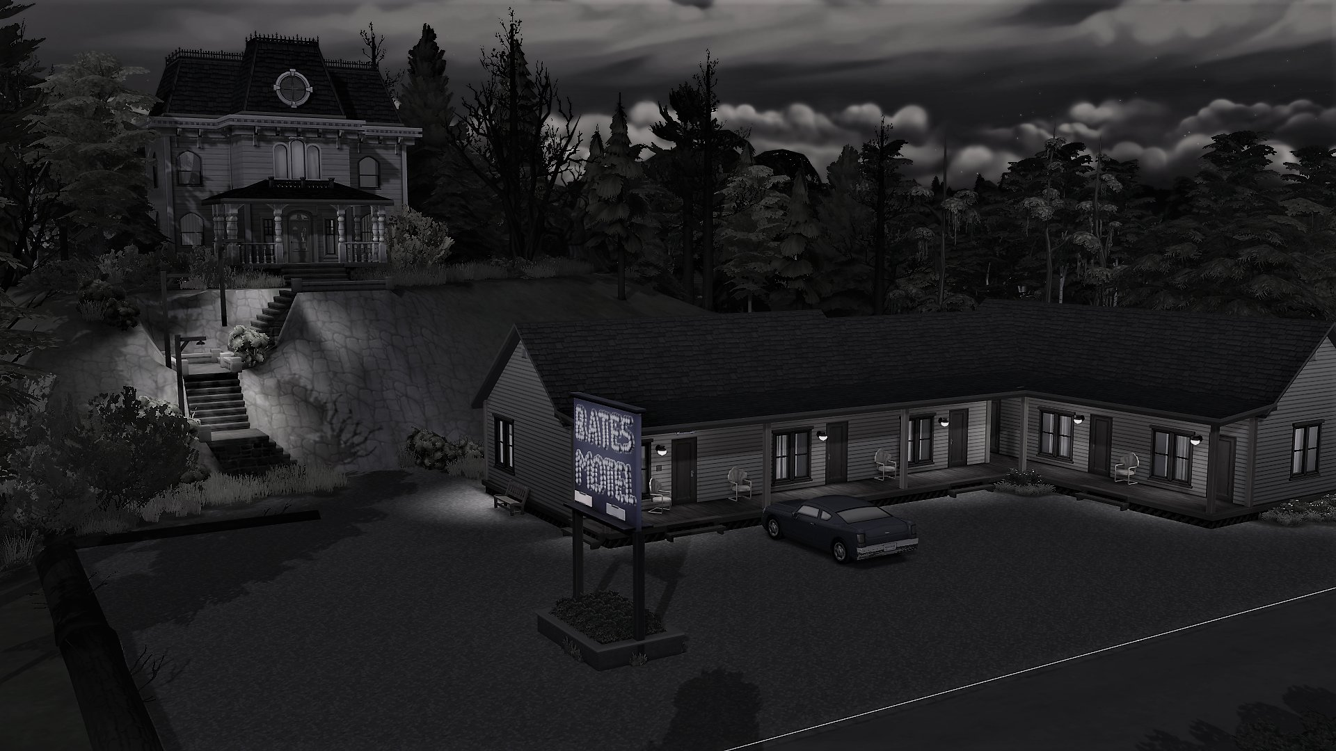 A black and white screenshot of The Bates Motel from the movie Psycho, built in The Sims 4