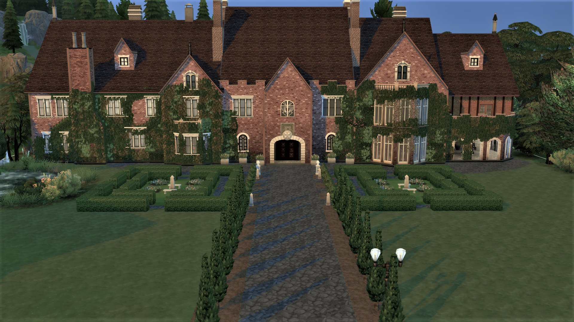 A screenshot of the imposing front of Bly Manor from The Haunting of Bly Manor Netflix show, built in The Sims 4