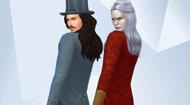 A screenshot of both old and young versions of Gary Oldman as Dracula, recreated as Sims and looking winsomely over their shoulders as if on a catwalk.