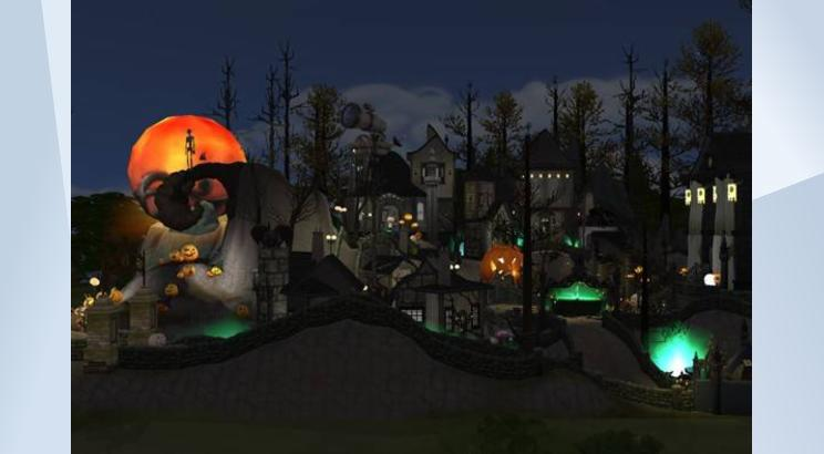 A screenshot of Halloweentown from The Nightmare Before Christmas, made in The Sims 4 and featuring a really big crystal ball in place of a moon.