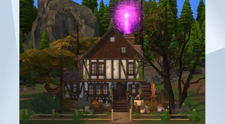 A screenshot of the Sanderson Sisters' house from Hocus Pocus built in The Sims 4