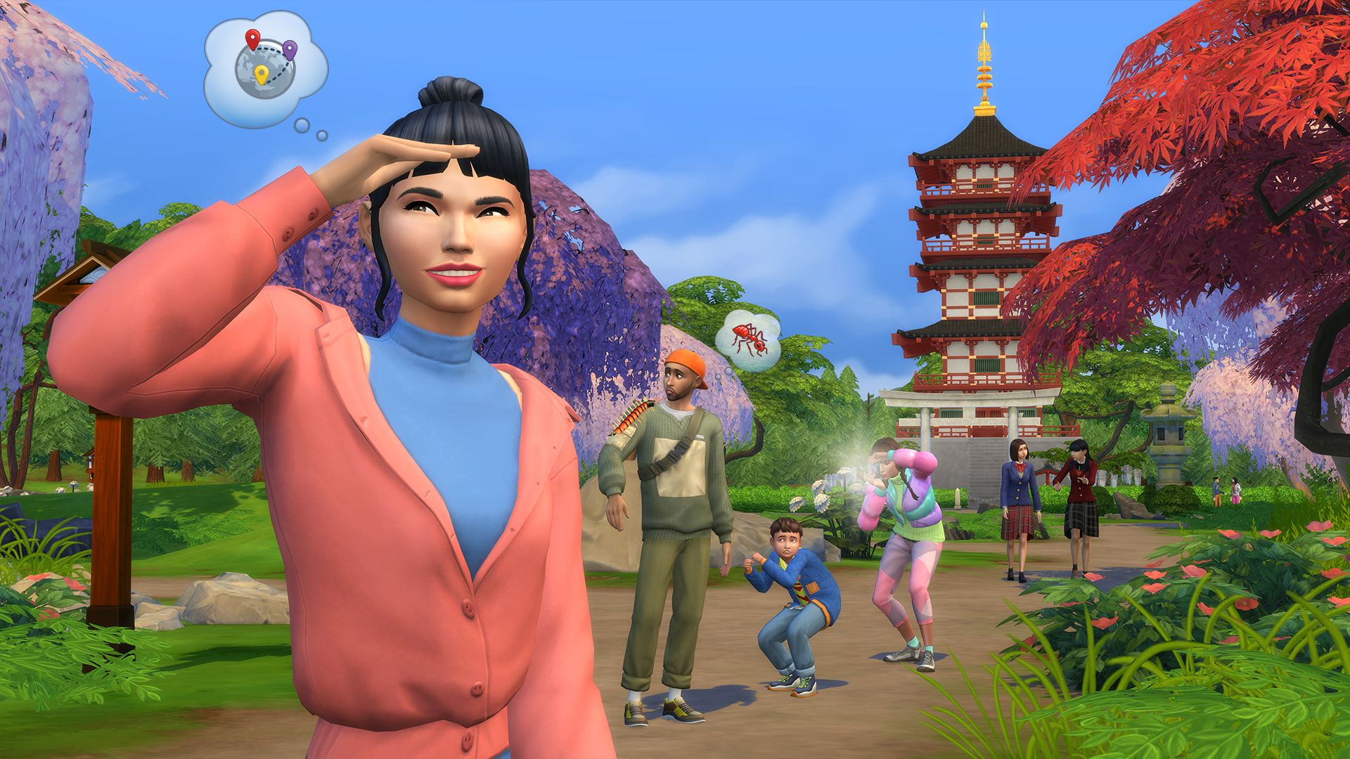 A screenshot of a group of Sims on a nice hike in Senbamachi. There is a tall temple tower building in the background. One of the Sims is thinking about ants.