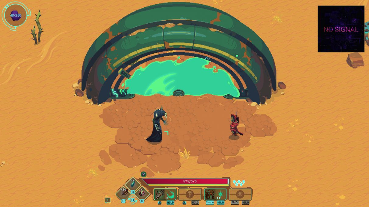 A screenshot of Undungeon showing the protagonist, Void, standing in a desert in front of what looks like some kind of portal; it is a green semi-circle of metal, with a blue green field of light inside it. Opposite Void is a shorter figure wrapped in red robes.