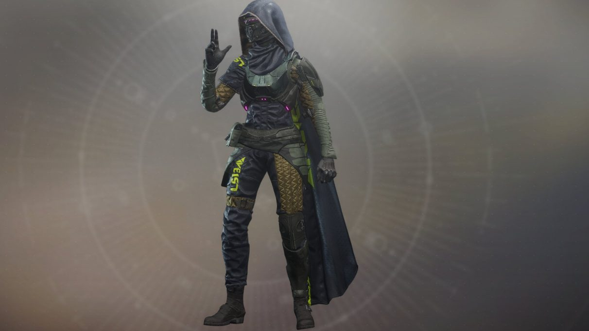 A tryhard Destiny hunter in the Veist armour set.
