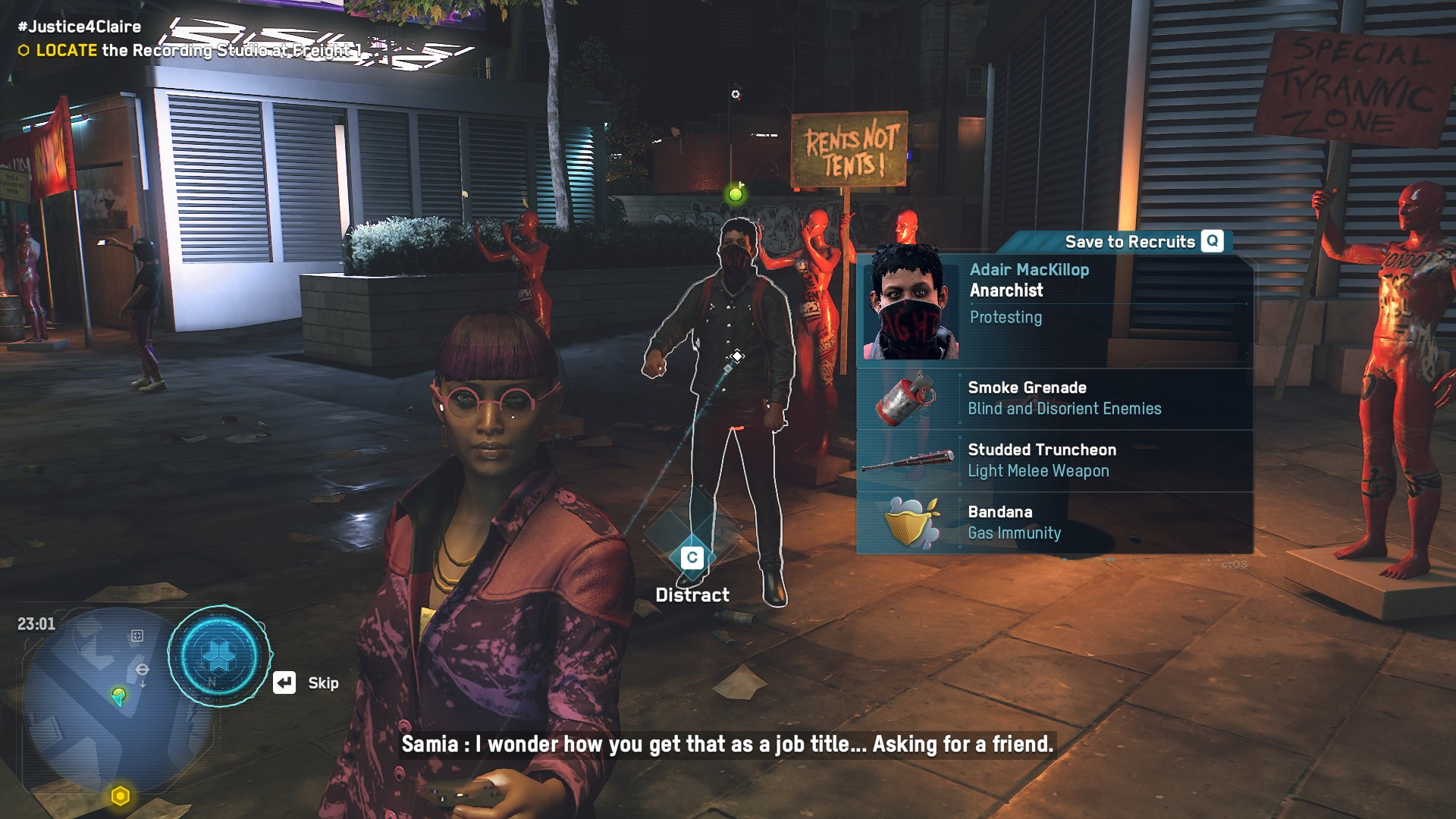 A future operative has a green dot over their head in Watch Dogs: Legion.
