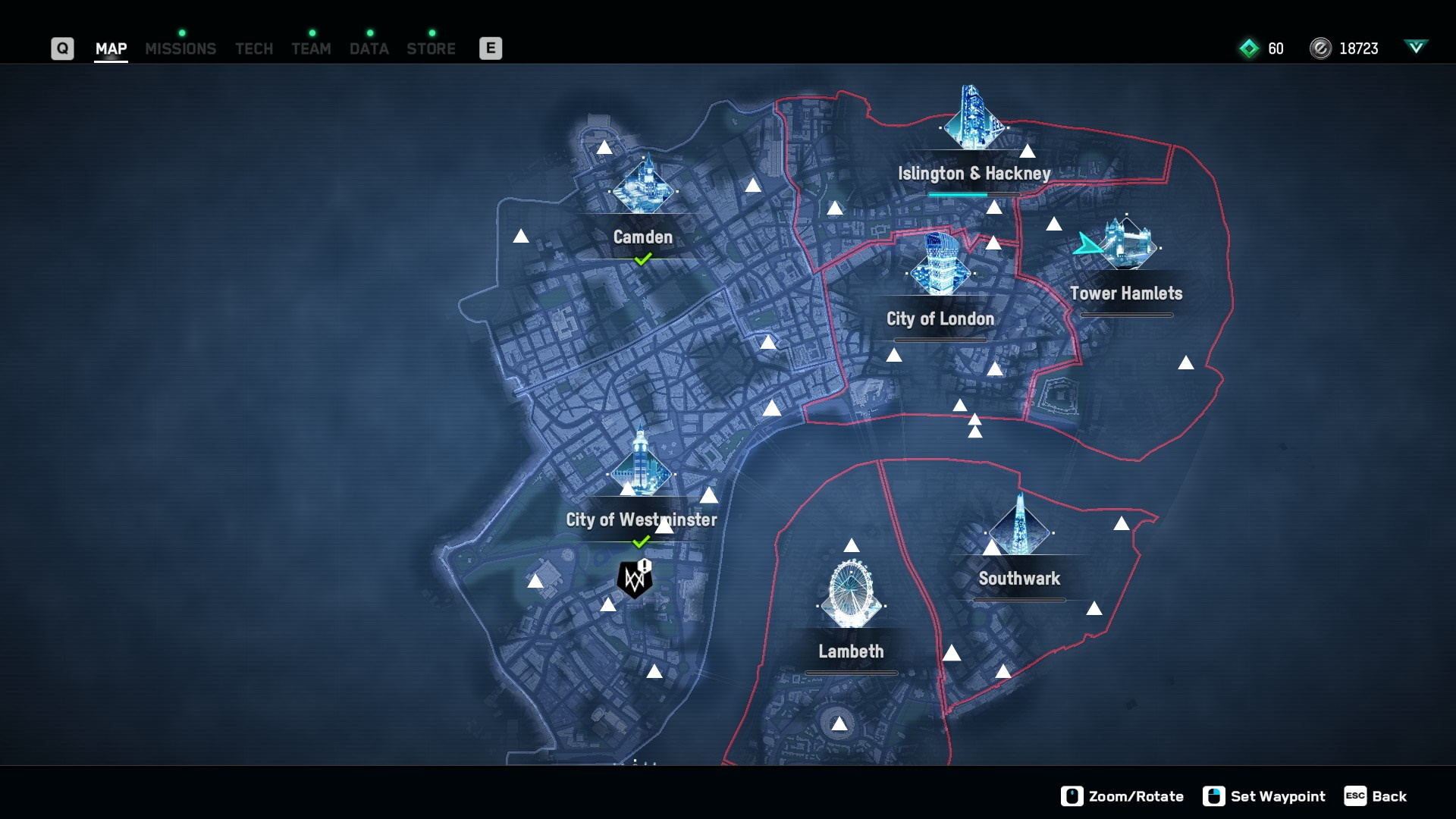 Watch Dogs Legion map with the mask locations marked