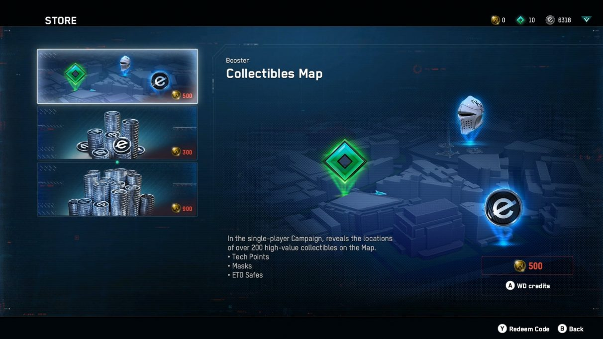 A map of collectibles sold in the Watch Dogs: Legion microtransaction store.