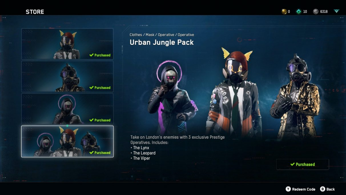 Unique operatives in the Watch Dogs: Legion microtransaction store.