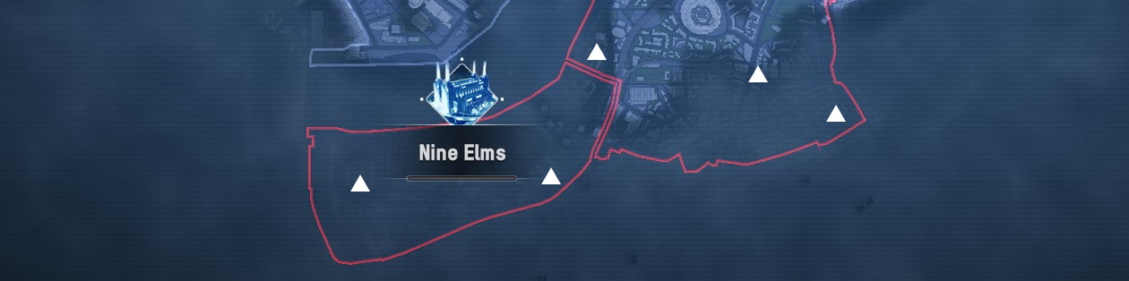 Watch Dogs Legion map of Nine Elms with the mask locations marked