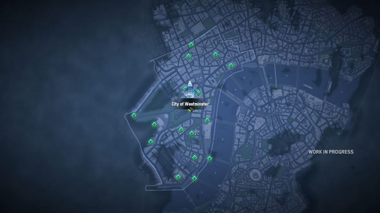 A screenshot of the Borough of Westminster on the Watch Dogs: Legion Map, which has just been liberated by the deep, majestic bong of Big Ben. The screenshot says 'work in progress' on one side.