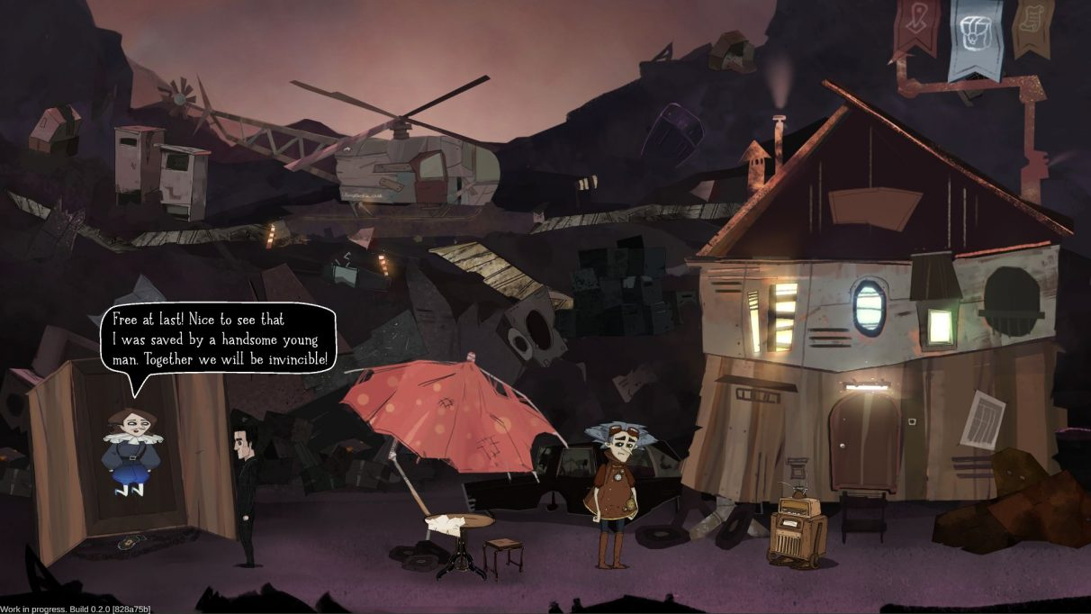 A screenshot from Whateverland showing protagonist Vincent (a young-ish white man dressed all in black, with black hair and smudged black makeup around his eyes) having just released another man from a wardrobe. This second man looks vaguely Elizabethan, and is floating in mid air. They appear to be in a rubbish tip. On the other side of the screen, a third man who has the wild grey hair and flying goggles of an eccentric scientist stereotype, is standing next to a ramshackle house looking a bit folorn.