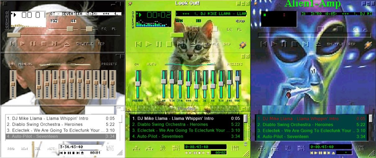 The Pope, a kitten, and an alien smoking dope in some silly Winamp skins.