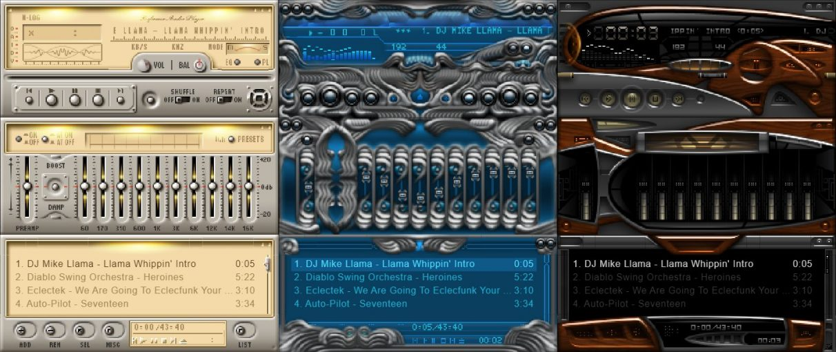 Some stylish Winamp skins.