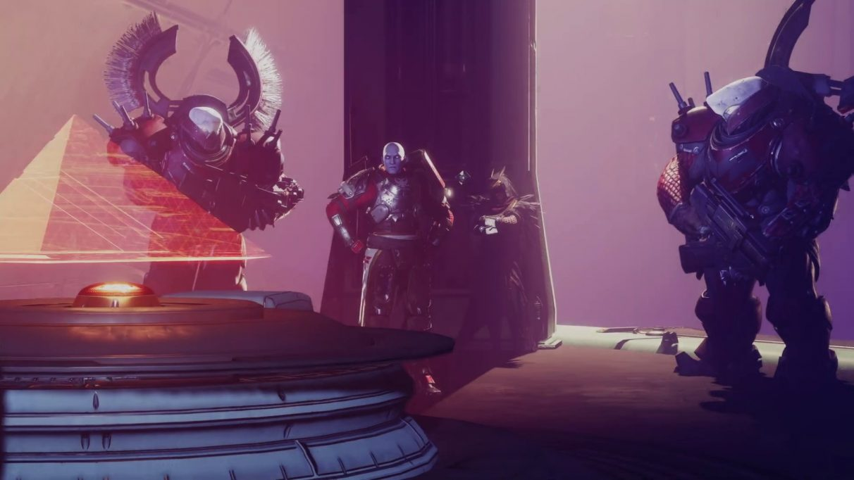 A Destiny 2 cinematic still showing Zavala and Osiris discussing pyramids with Red Legion troops.