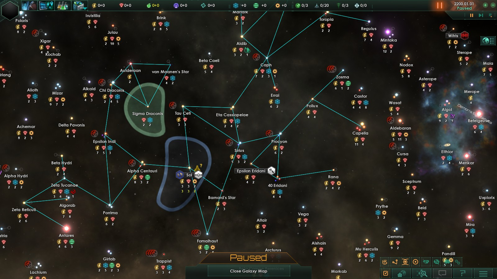 A Stellaris screenshot showing off the galaxy map with a realistic set of stars
