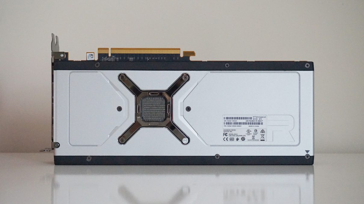 A photo of the rear side of the AMD Radeon RX 6800 XT.