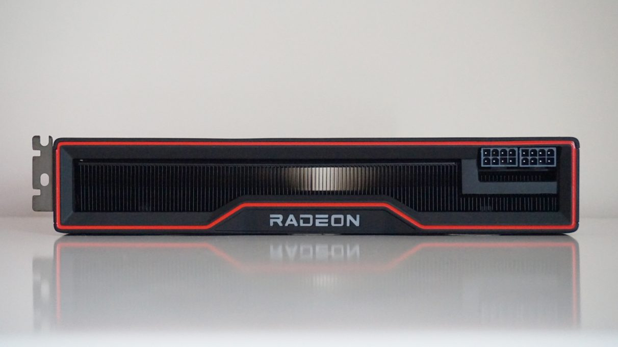 A photo of the AMD Radeon RX 6800 XT on its side, showing its two 8-pin power connectors.