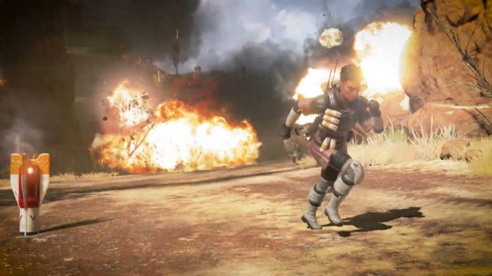 A screenshot of Bangalore running to safety as the rockets from her Rolling Thunder Ultimate ability detonate around her.