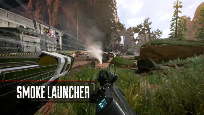 A screenshot of Bangalore firing a Smoke canister using her Tactical ability.