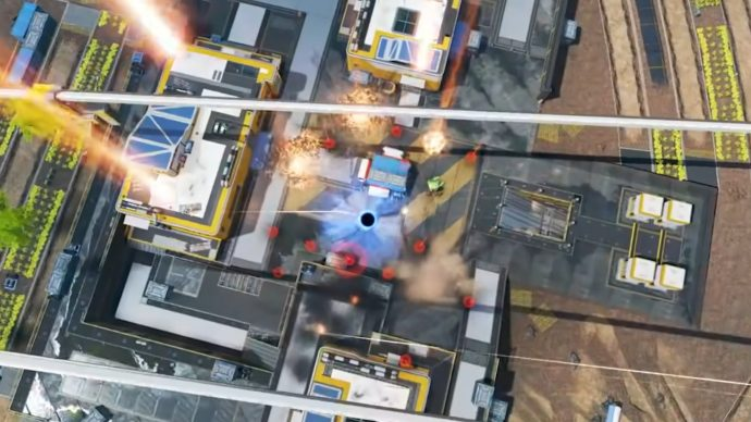 A screenshot from the Season 7 Apex Legends trailer showcasing Gibraltar's Defensive Bombardment alongside Horizon's Black Hole.