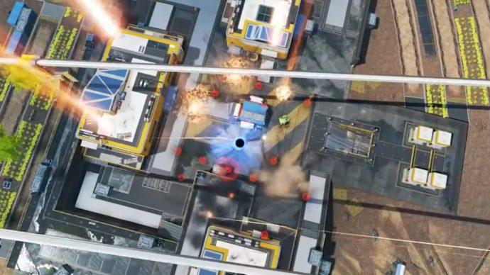 Tangkapan layar dari trailer Musim 7 Apex Legends yang menampilkan Pemboman Pertahanan Gibraltar bersama Lubang Hitam Horizon.