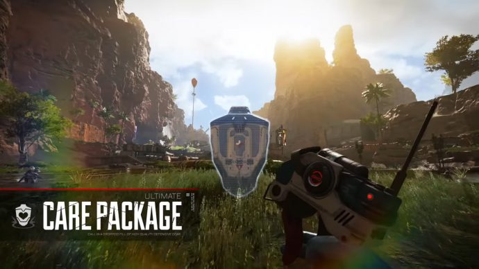 A screenshot of Lifeline placing down her Care Package Ultimate ability.