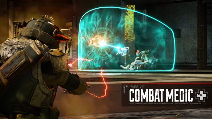 A screenshot of Lifeline's Passive ability in action as her drone shields and revives a fallen teammate.