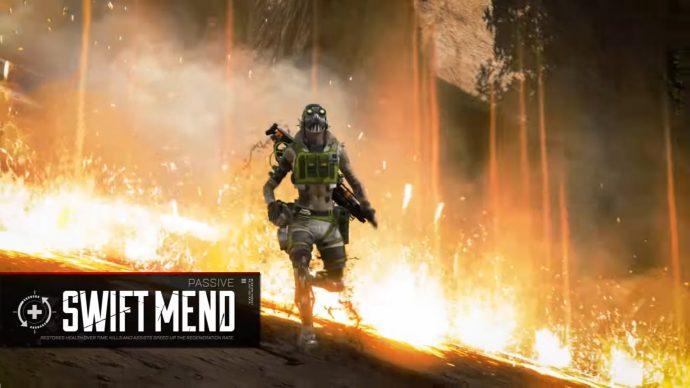Uma captura de tela de Octane correndo pelas chamas de uma granada Thermite e se curando graças à sua habilidade Passiva Swift Mend.