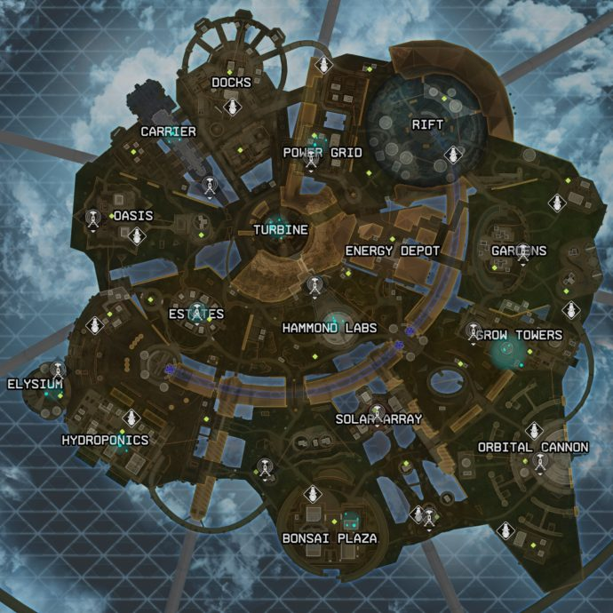 The new Apex Legends map, Olympus, is larger than Kings Canyon but smaller than World's Edge, and features 16 unique named locations.
