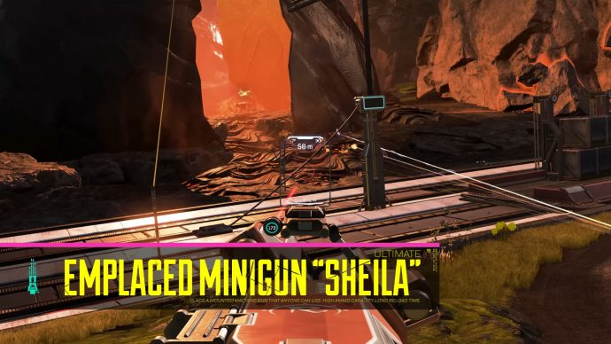 A screenshot of Rampart aiming down the sights of Sheila, her Ultimate Minigun.