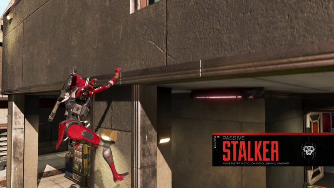 A screenshot of Revenant using his Stalker passive to quickly climb a wall.