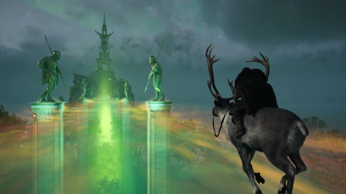 Havi riding across the Bifrost in Assassin's Creed Valhalla