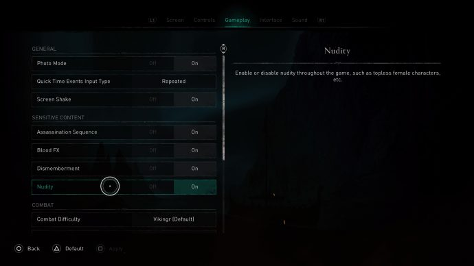 toggling the nudity settings in Assassin's Creed Valhalla