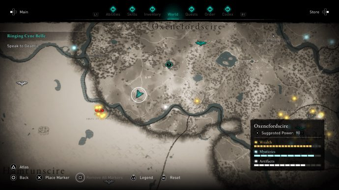 A map showing the location of the treasure hoard in Oxenefordscire in Assassin's Creed Valhalla