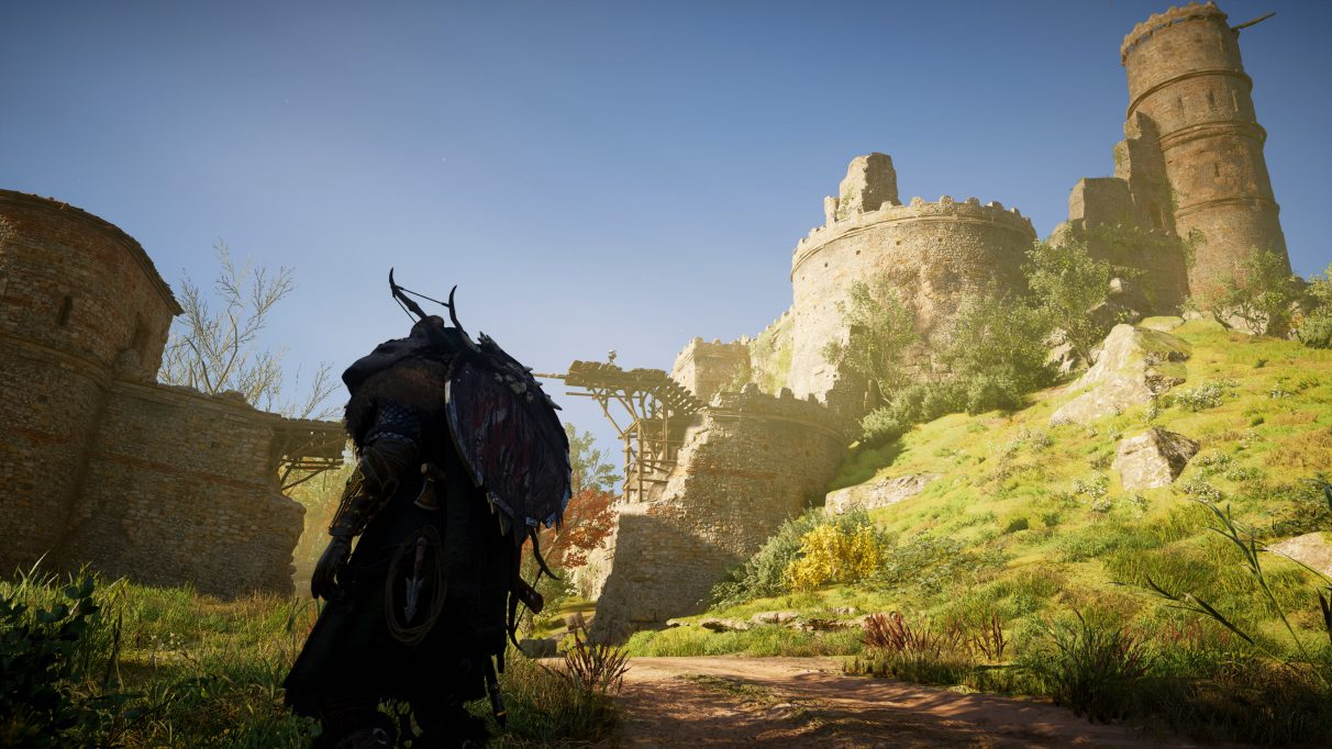 A screenshot of a castle in Assassin's Creed Valhalla on High PC settings.