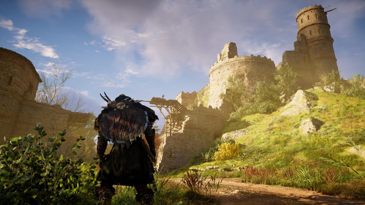 A screenshot of a castle in Assassin's Creed Valhalla on Very High PC settings.