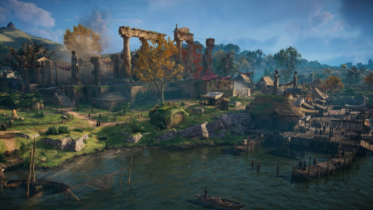 A screenshot from Assassin's Creed Valhalla's PC benchmark showing a village scene with High quality settings.