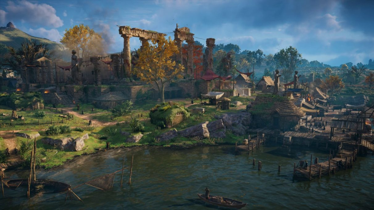A screenshot from Assassin's Creed Valhalla's PC benchmark showing a village scene with Ultra High quality settings.