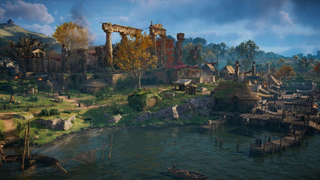 A screenshot from Assassin's Creed Valhalla's PC benchmark showing a village scene with Very High quality settings.