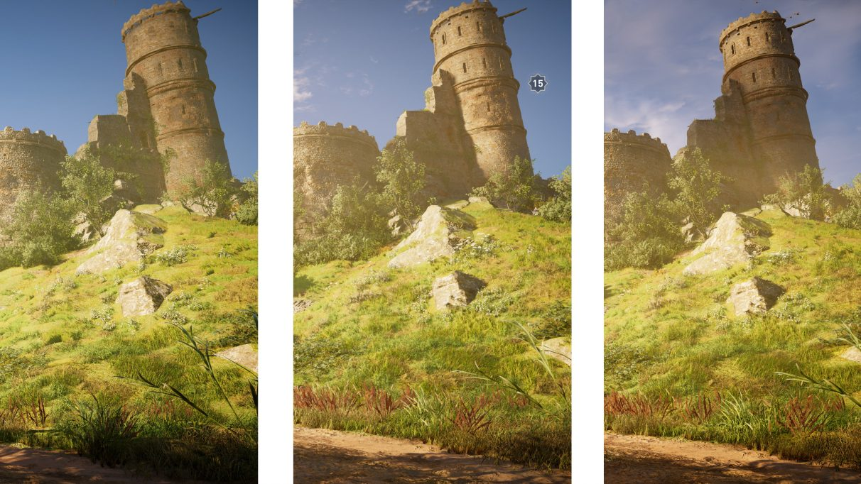 Close-up screenshots of a castle hillside in Assassin's Creed Valhalla comparing PC's High settings (left), the Xbox Series X (middle) and PC Very High settings (right).