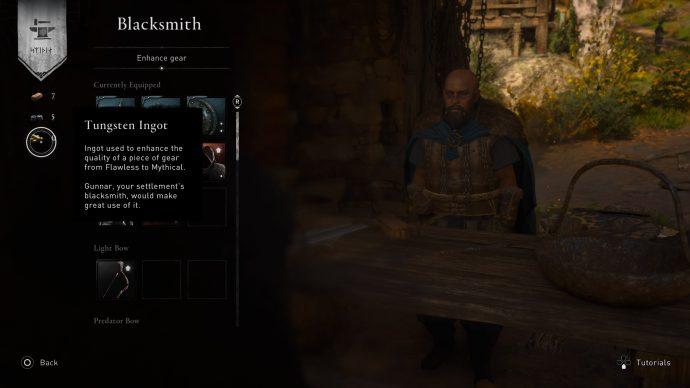 The blacksmith menu in Assassin's Creed Valhalla