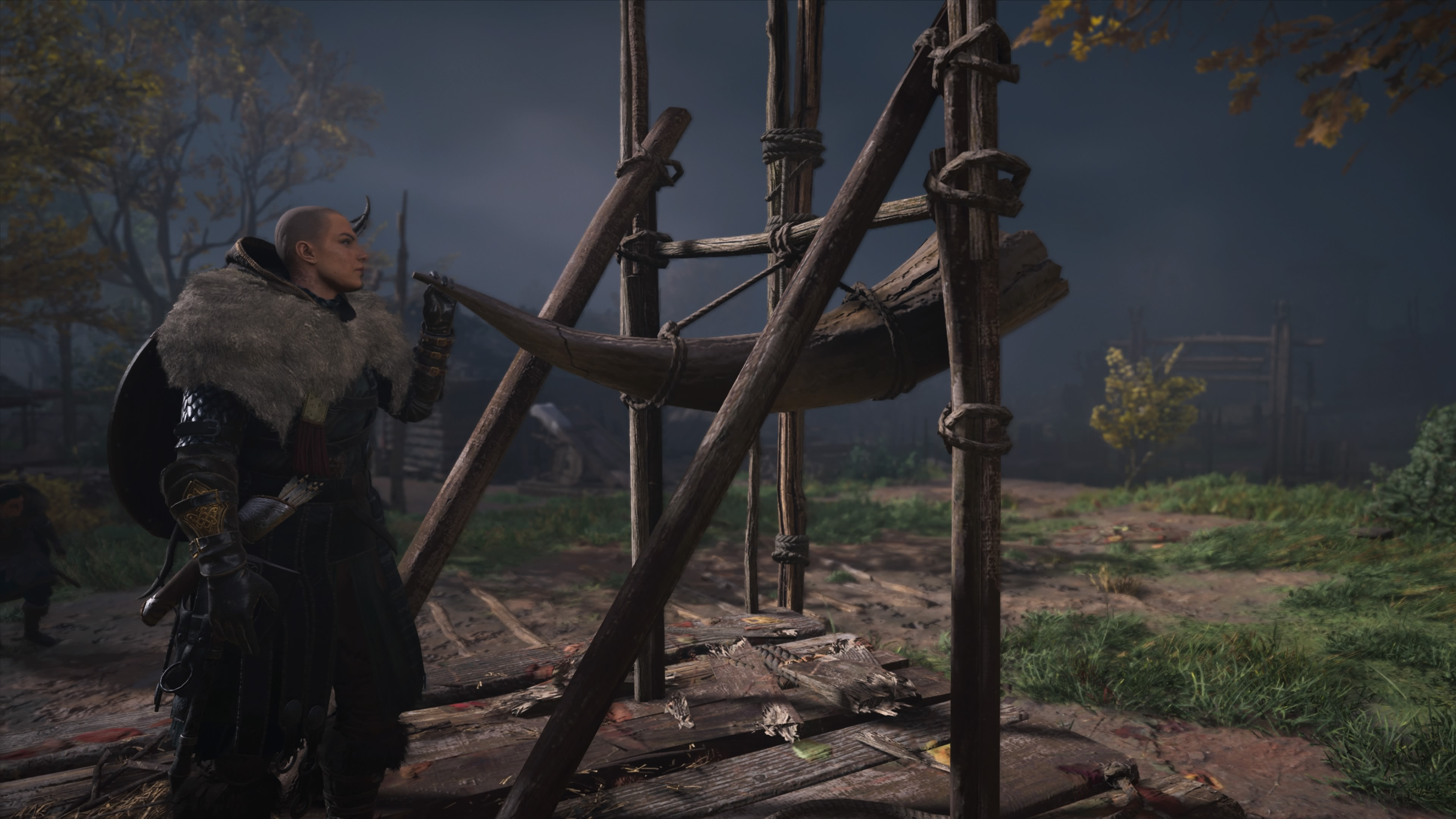 Eivor blowing the 'I have rescued a village and discovered your traitor' horn in Assassin's Creed Valhalla