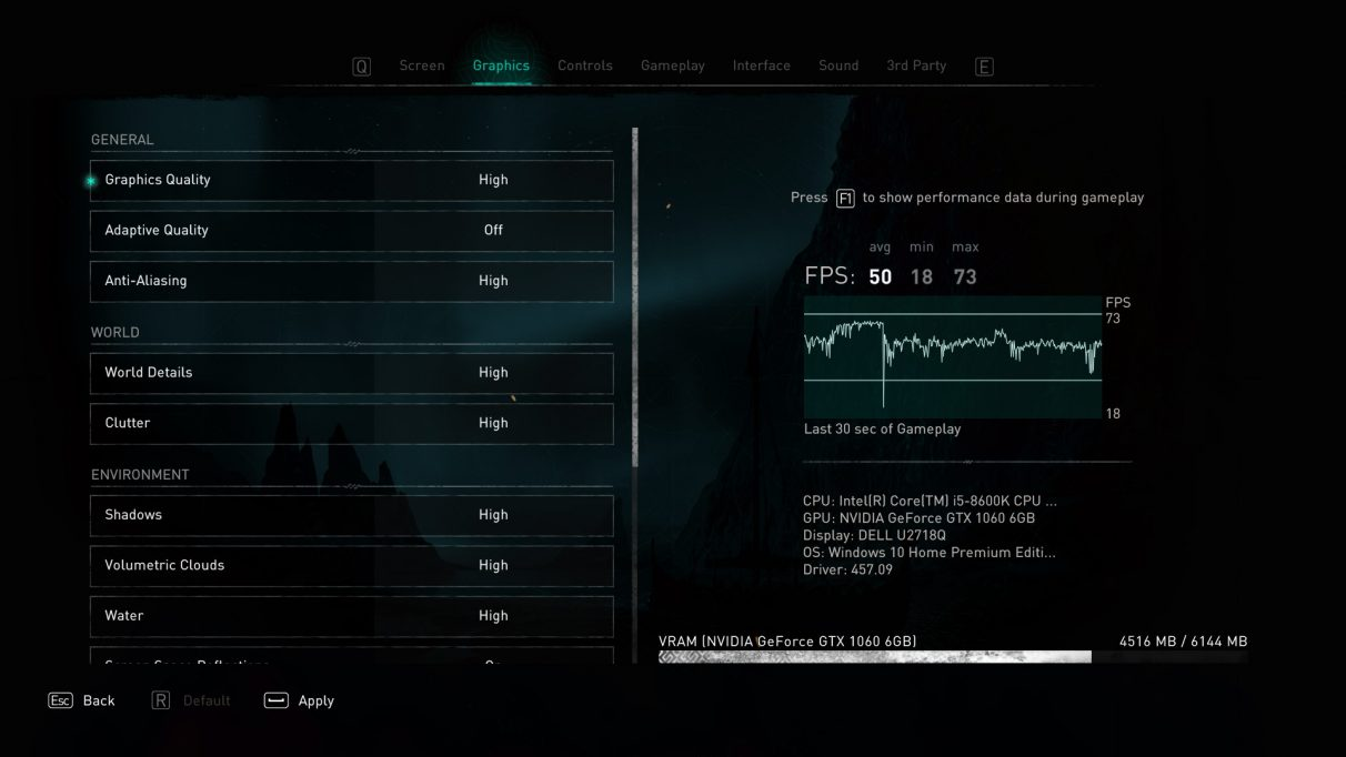 A screenshot of Assassin's Creed Valhalla's graphics settings menu,