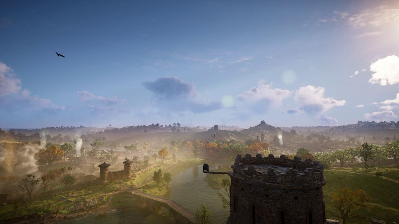 A panoramic view of the countryside, as Eivor 'sychronises' with a high vantage point - an abandoned stone tower.